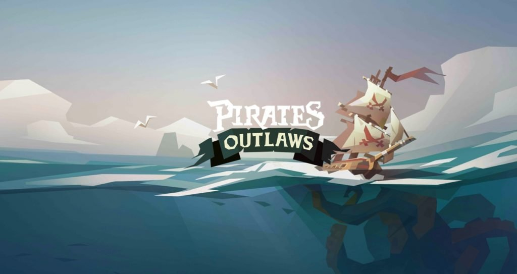 Pirates Outlaws Title Screen Ship Sailing on Open Waters