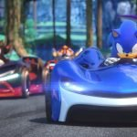 Sonic the Hedgehog in race car Team Sonic Racing