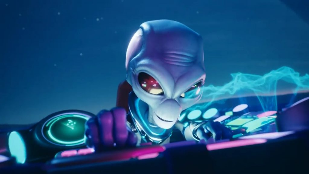 Alien executing attack from ship in Destroy All Humans!