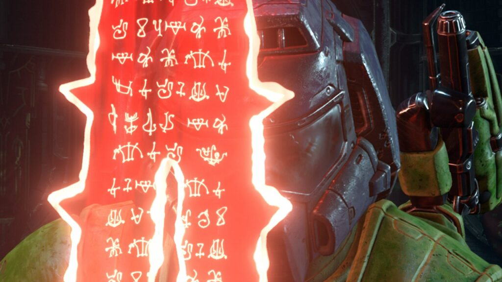 Doom Slayer Holds the Crucible Weapon