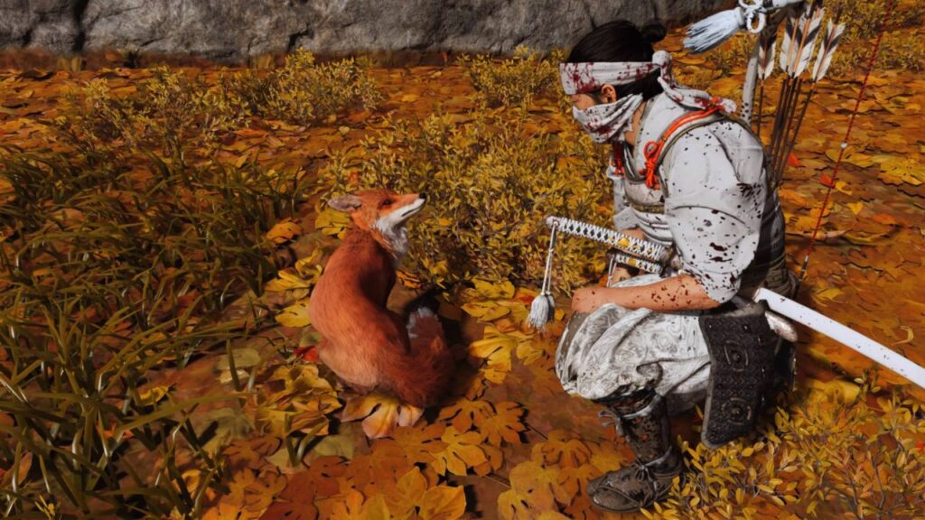 Ghost of Tsushima Petting a Fox