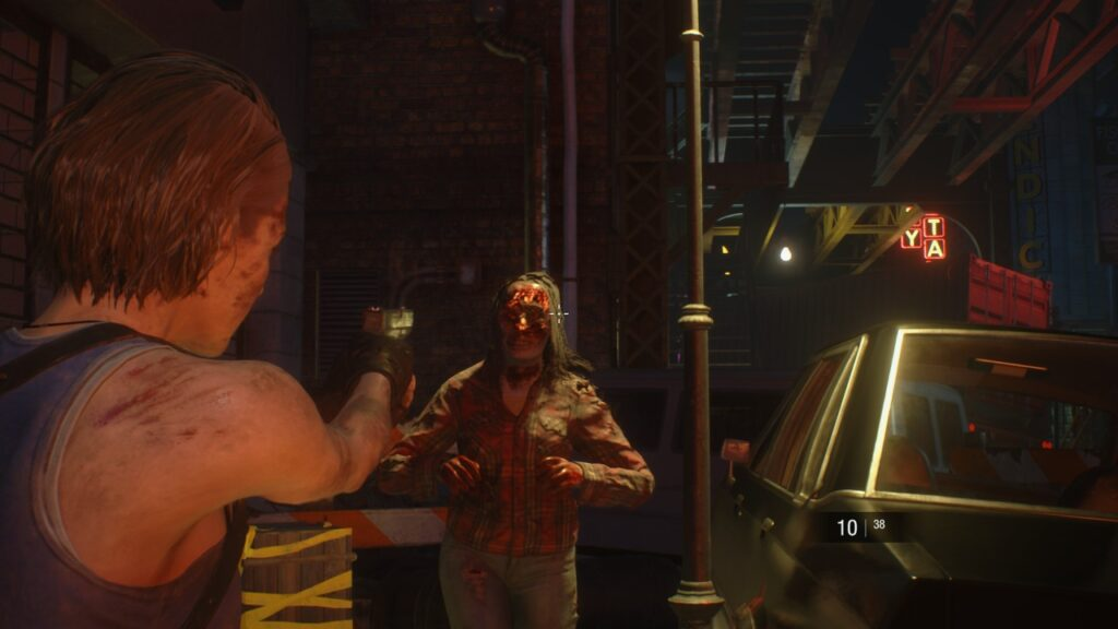 Resident Evil 3 Shooting a Zombie