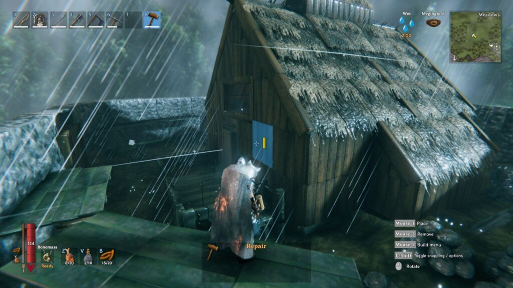 A player repairs their house using the base-building features