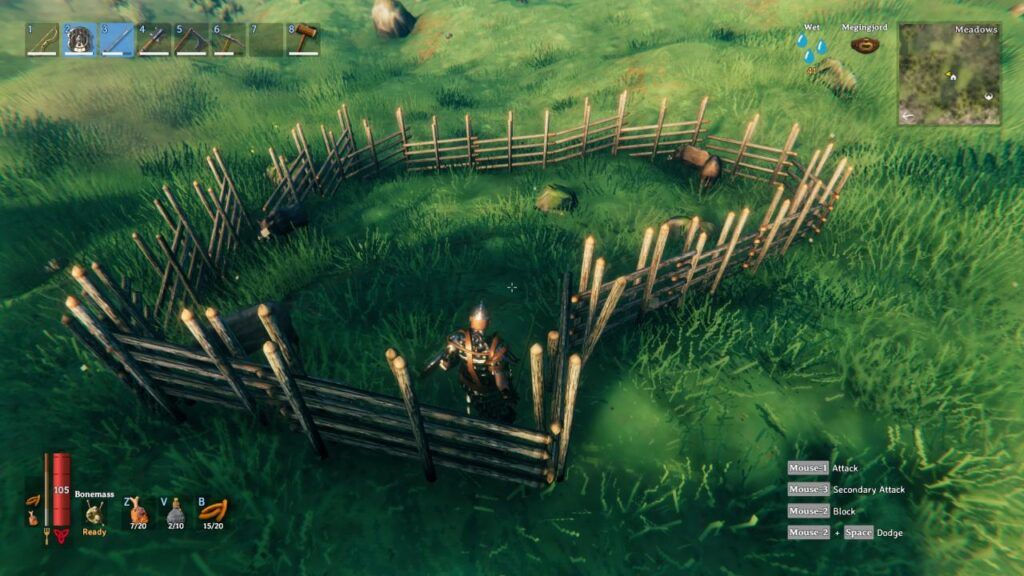 Boars trapped in an enclosure in Valheim