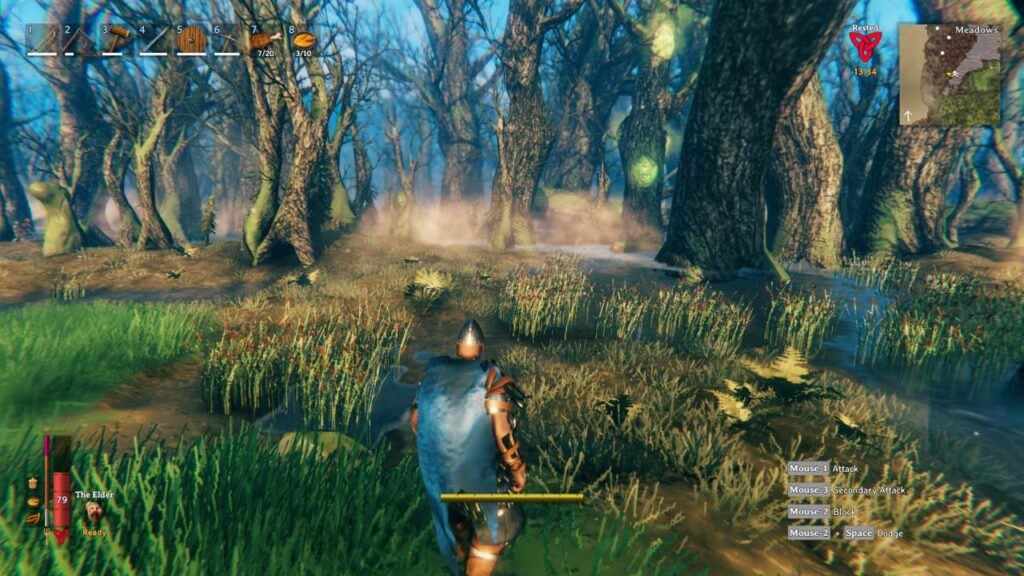 A player approaches a foggy woodland area