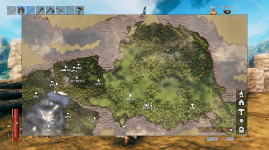 An overview of the map in Valheim