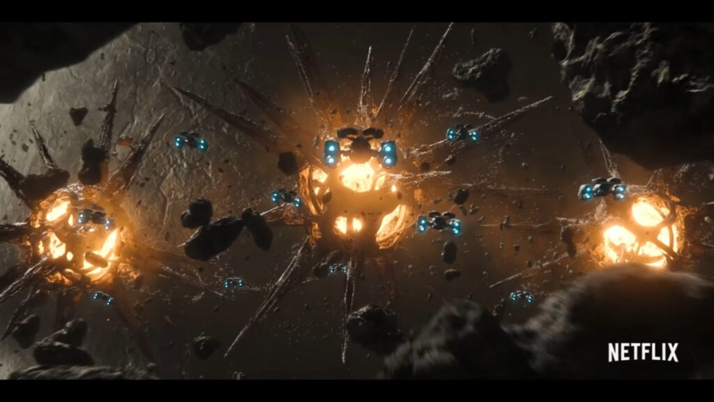 Space ships approach a cluster of ominous entities
